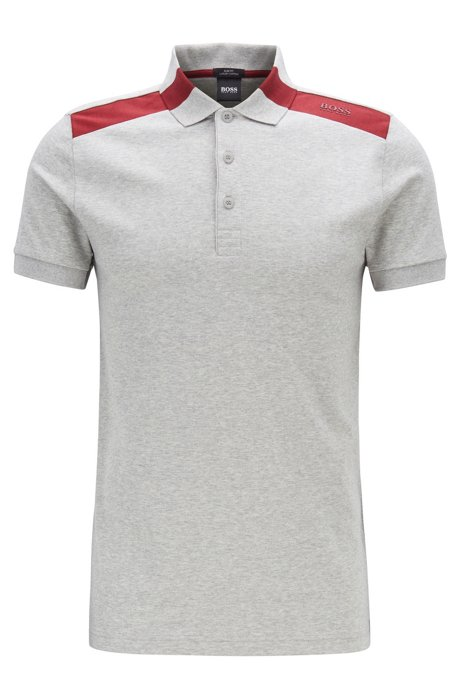 Slim-fit polo shirt with contrast shoulder inserts, Light Grey