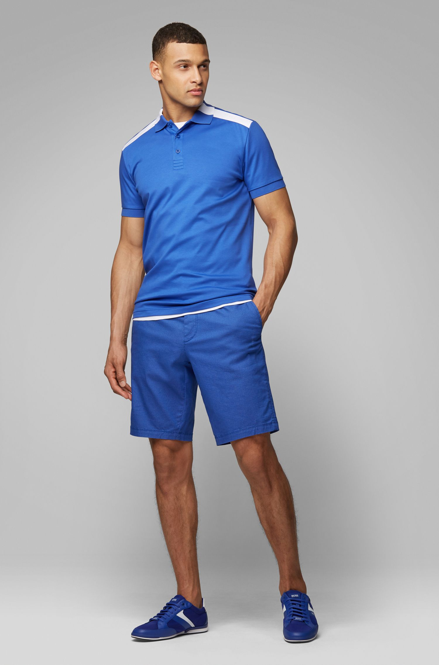 Slim-fit polo shirt with contrast shoulder inserts, Blue