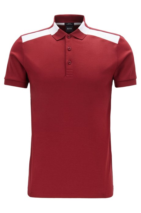 Slim-fit polo shirt with contrast shoulder inserts, Dark pink