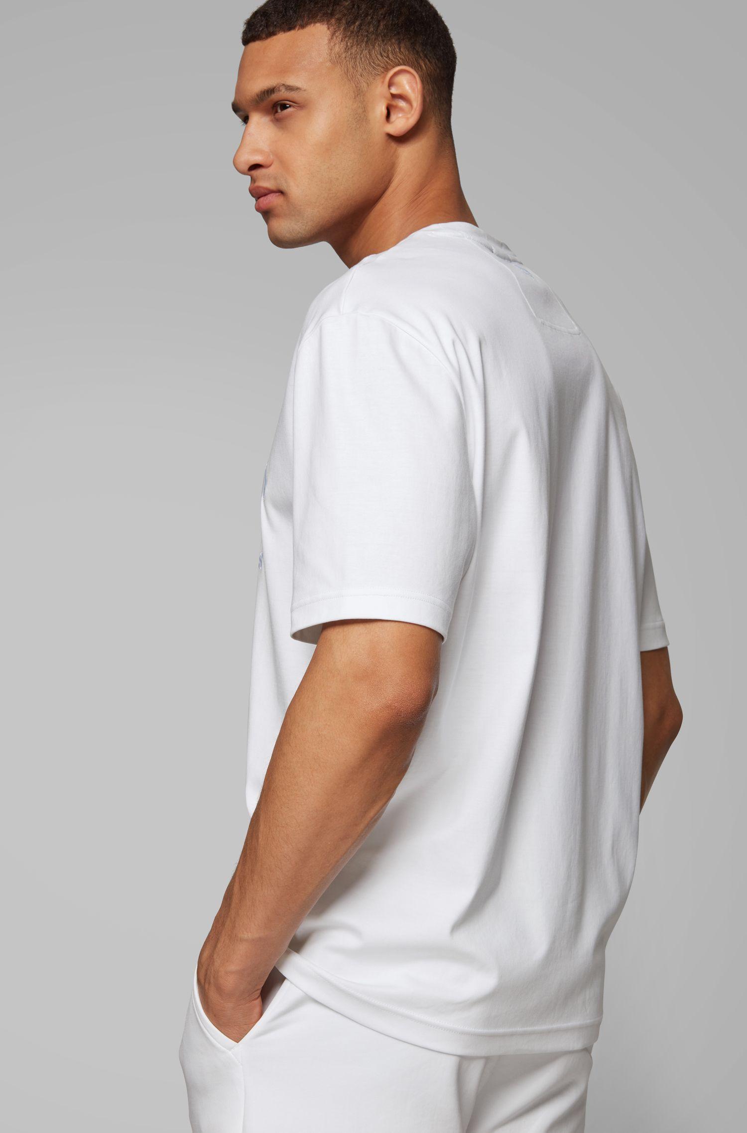 T-Shirt aus Interlock-Baumwolle mit tonalem Logo, Weiß