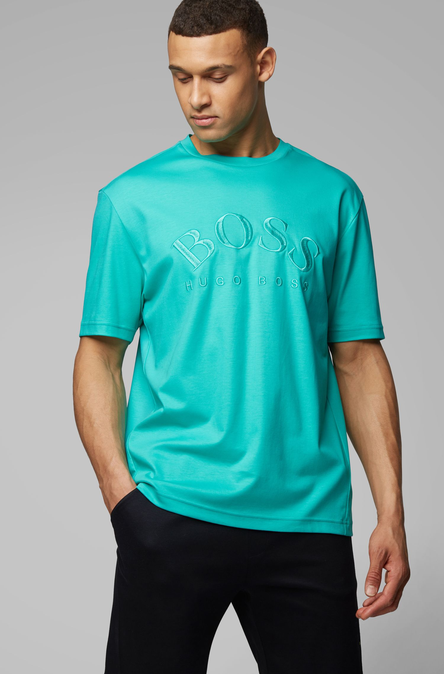 Relaxed-fit T-shirt in interlock cotton with tonal logo, Light Green