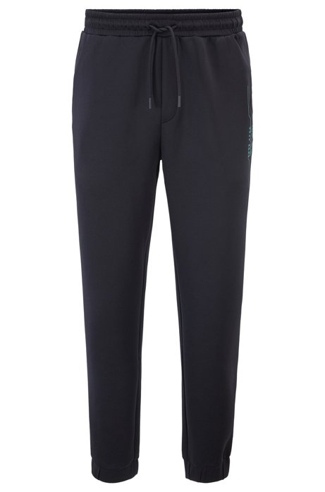 Slim-fit jogging trousers with logo artwork, Black