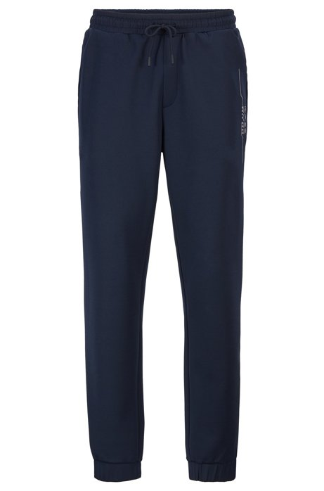 Slim-fit jogging trousers with logo artwork, Dark Blue