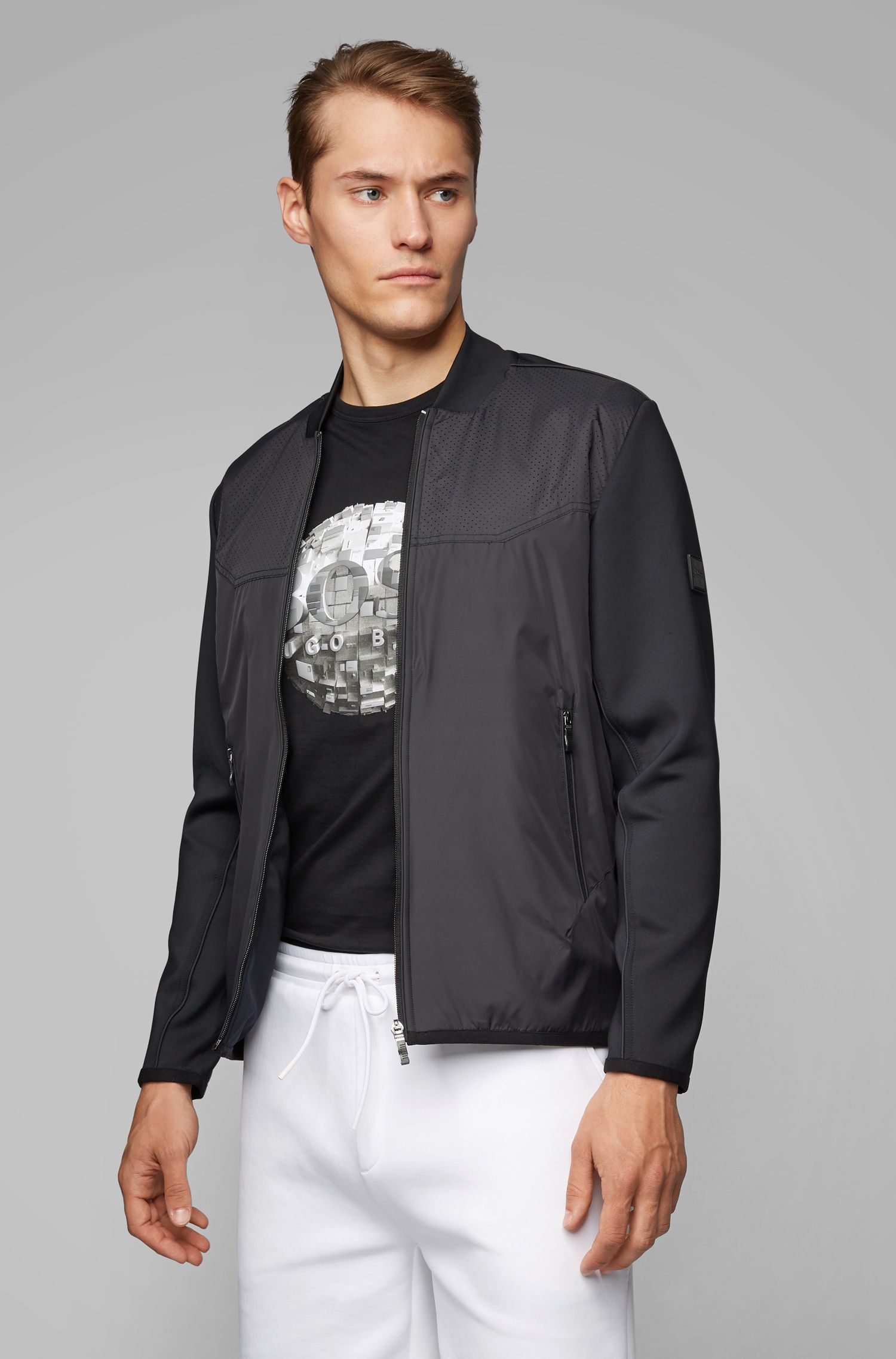 Hybrid bomber jacket with perforated details, Black