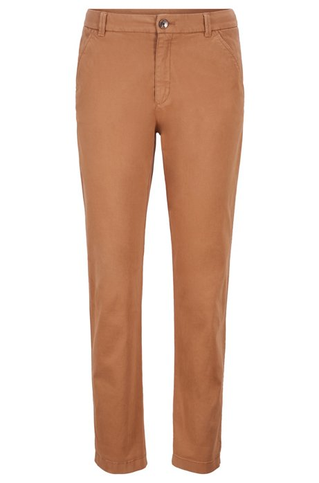 Cropped chinos in satin-touch stretch cotton, Light Brown