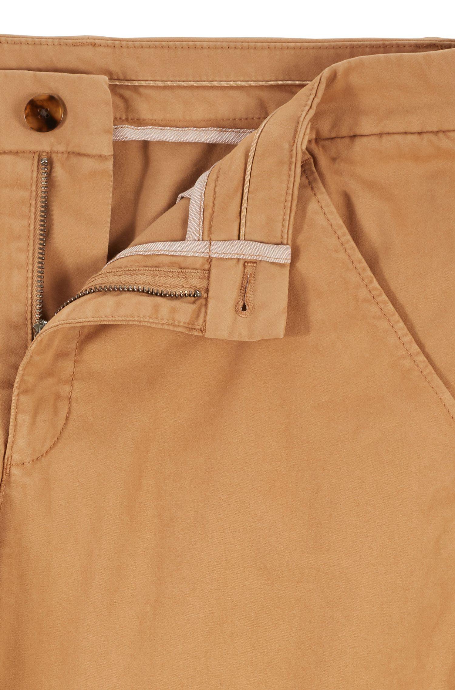 Cropped-Chino aus elastischer Baumwolle mit Satin-Finish, Hellbraun