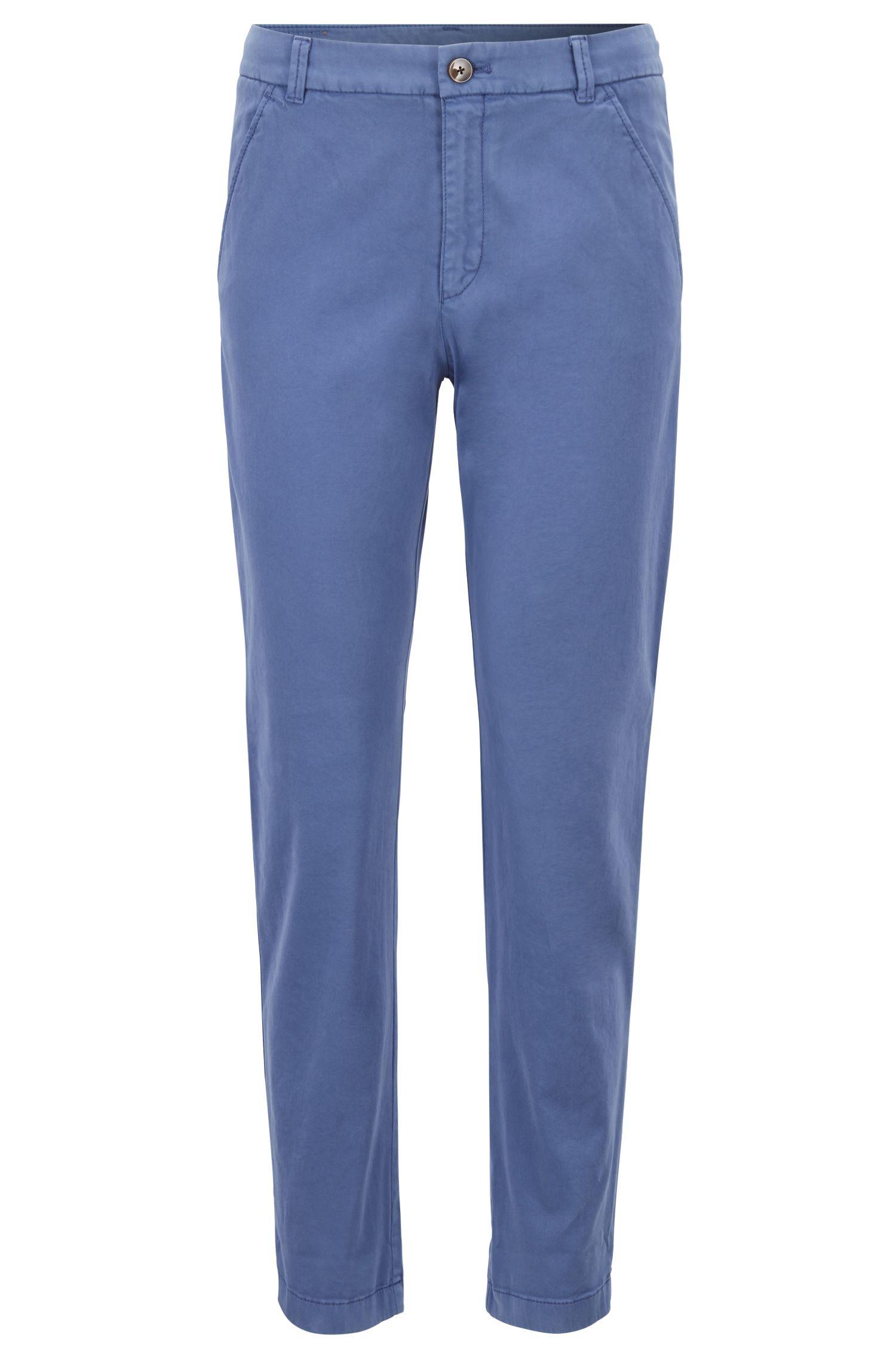 Chino alla caviglia in cotone elasticizzato effetto satin, Blu