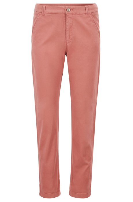 Cropped chinos in satin-touch stretch cotton, Light Red