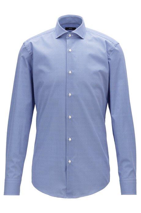 Camisa slim fit en algodón italiano con estampado romboidal, Azul
