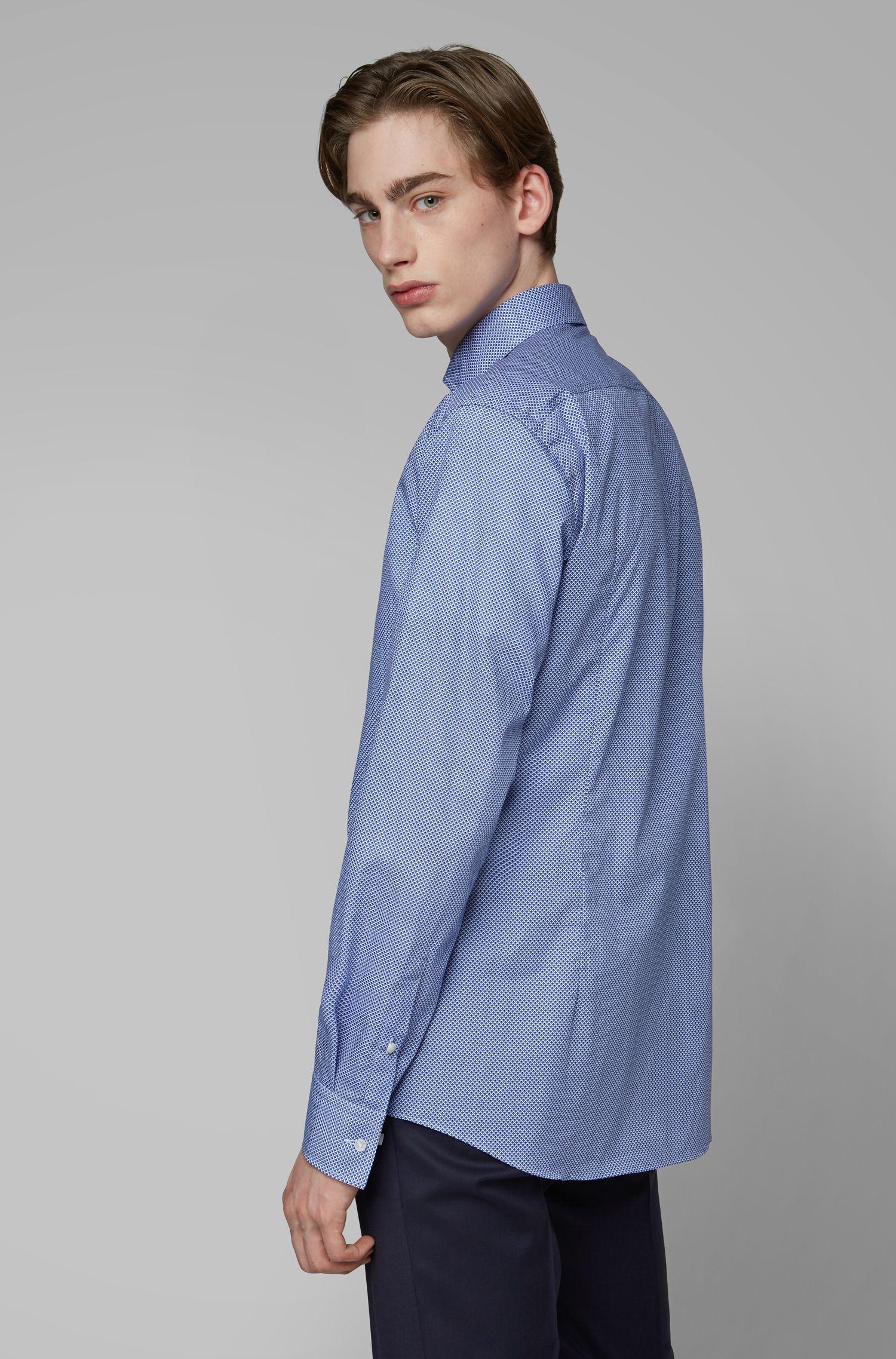 Slim-fit shirt in diamond-print Italian cotton, Blue