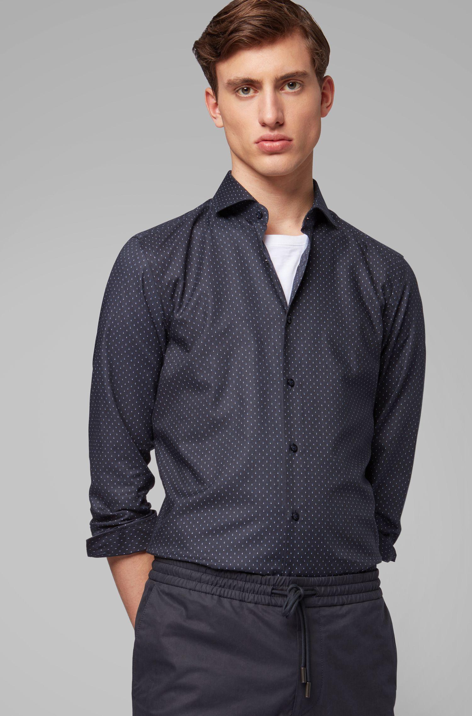 Slim-Fit Hemd aus italienischer Baumwolle mit Punkte-Print, Dunkelblau