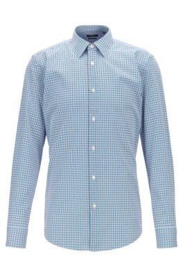 Slim-fit overhemd van Italiaanse katoen met tweekleurig dessin, Blauw