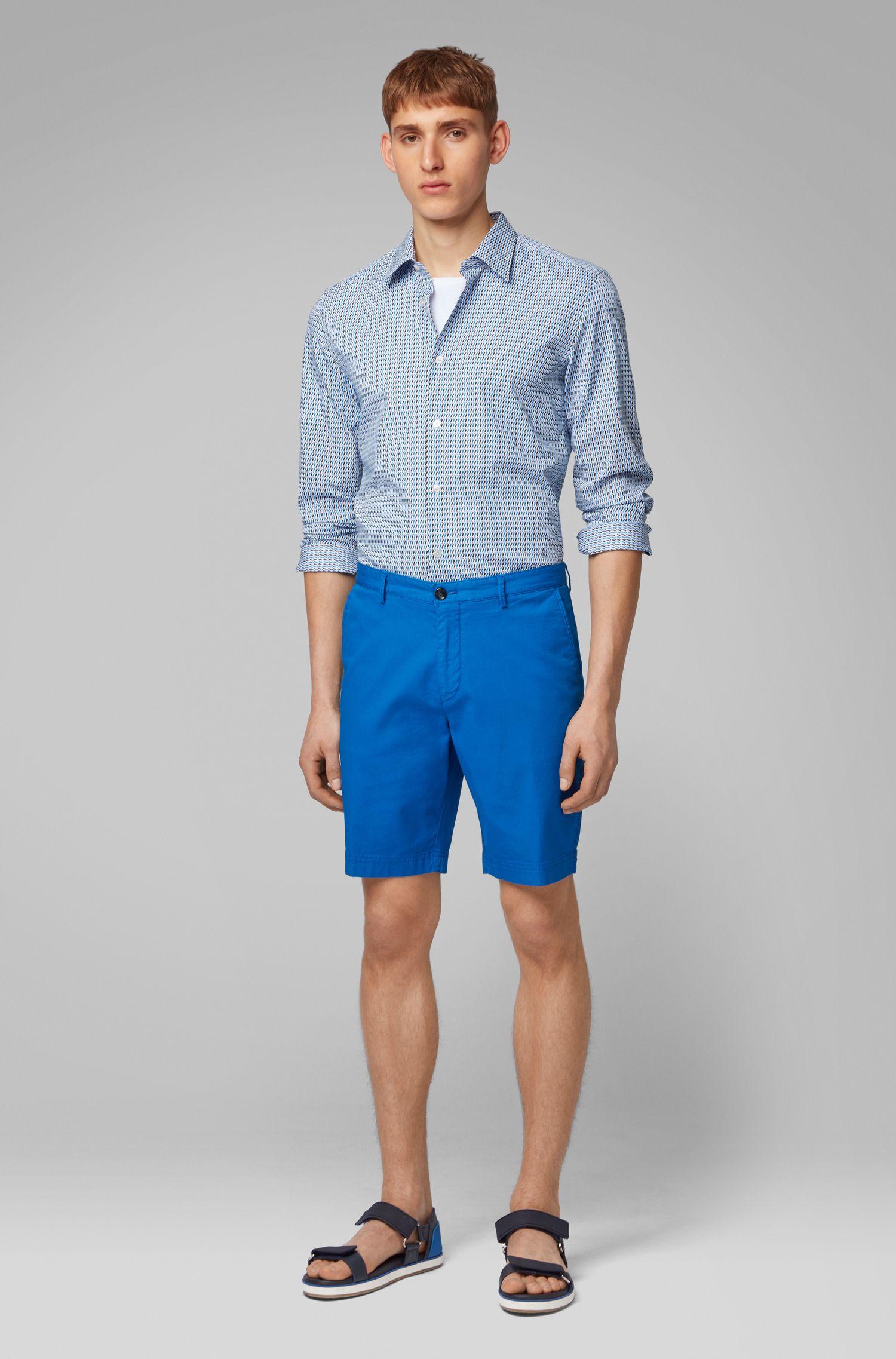 Camicia slim fit in cotone italiano con motivo bicolore, Blu
