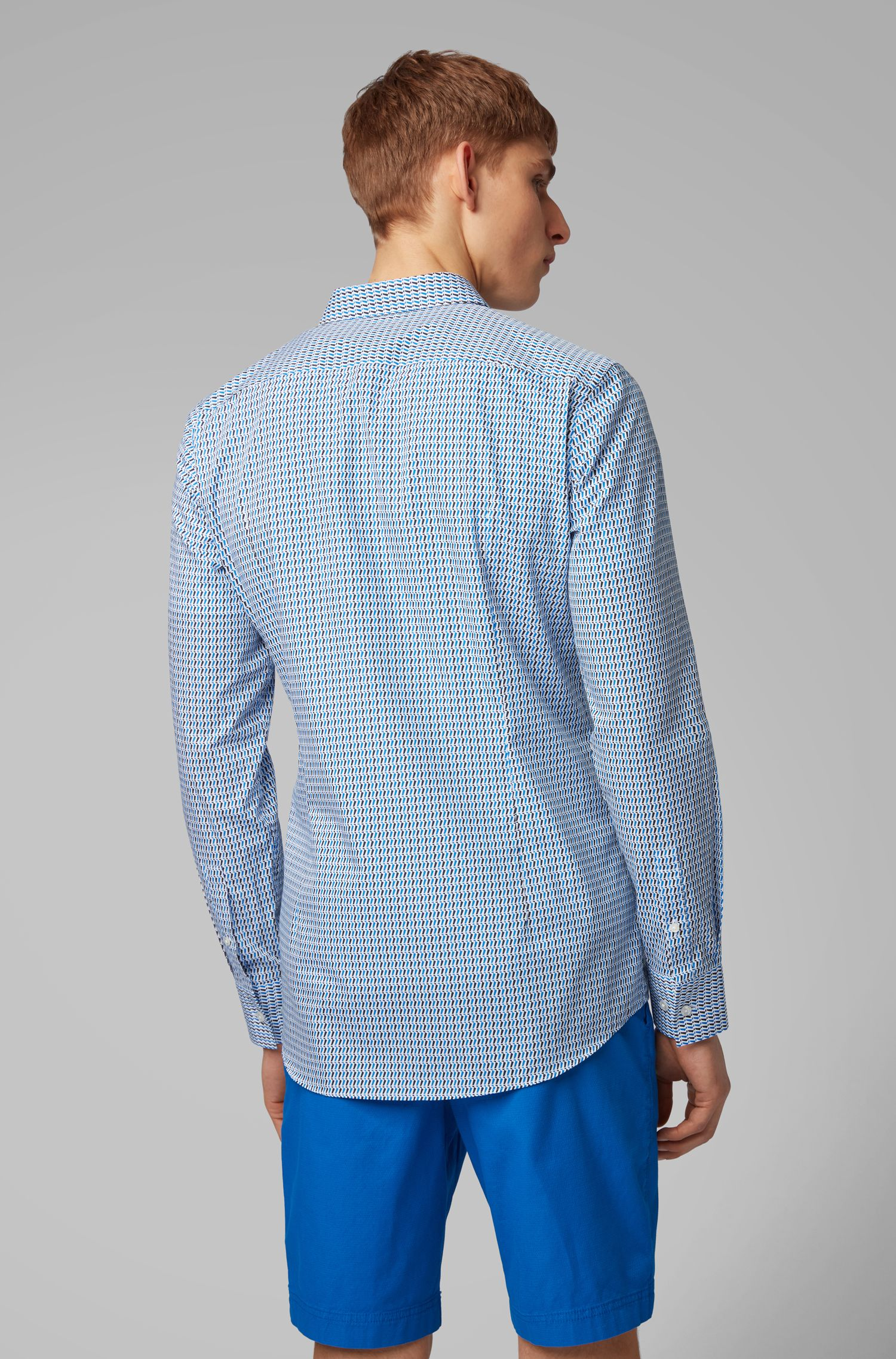 Slim-fit shirt in two-tone-patterned Italian cotton, Blue