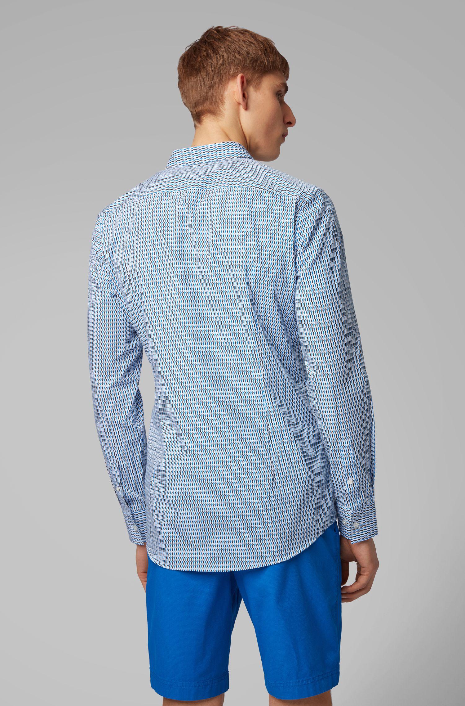 Slim-Fit Hemd aus zweifarbiger italienischer Baumwolle, Blau