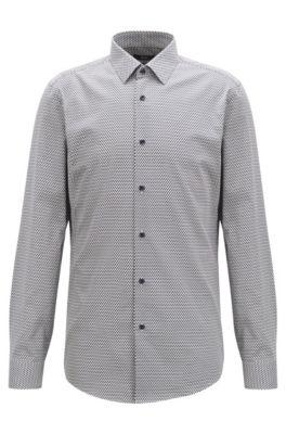 Slim-Fit Hemd aus Baumwoll-Satin mit Eiscreme-Motiv, Dunkelblau