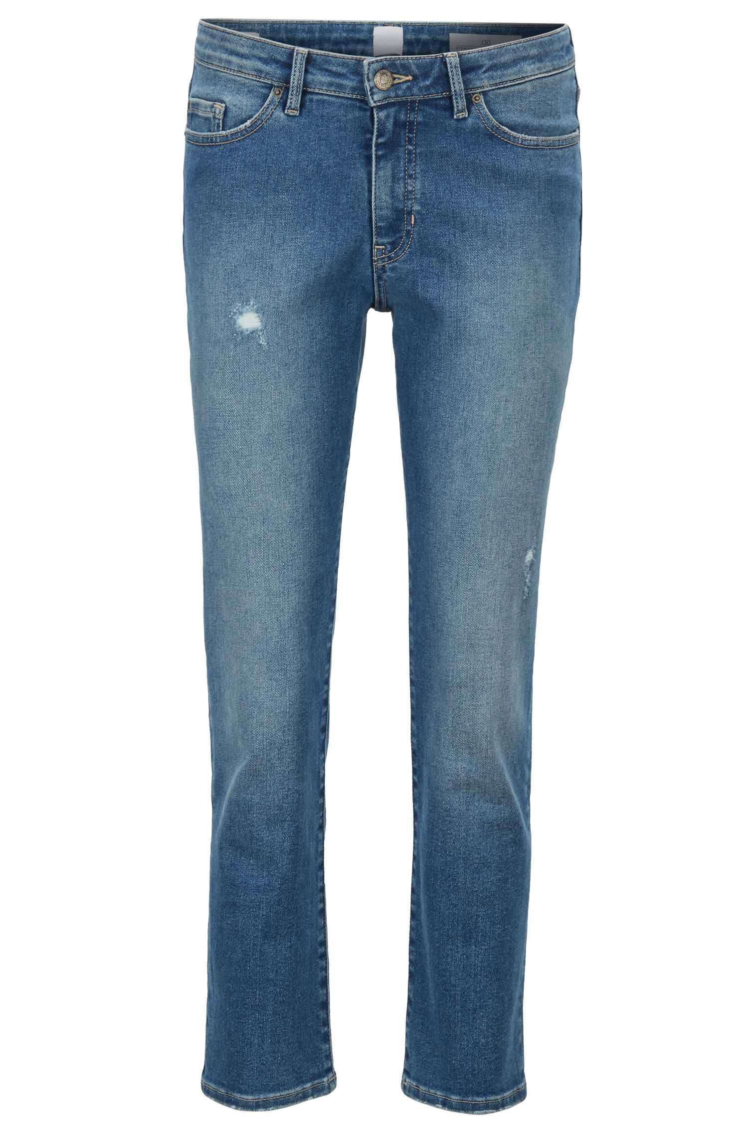 Regular-Fit Jeans aus Super-Stretch-Denim in Cropped-Länge, Blau
