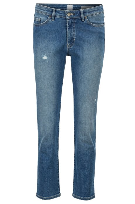 Jean court en denim super stretch bleu vintage, Bleu