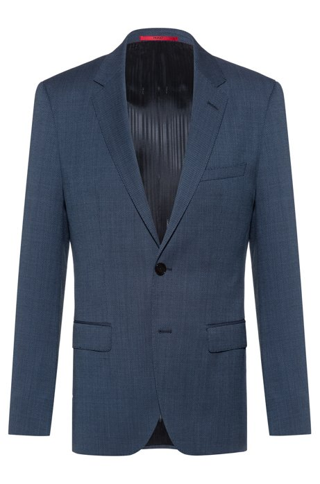 Regular-fit jacket in micro-patterned virgin wool, Dark Blue