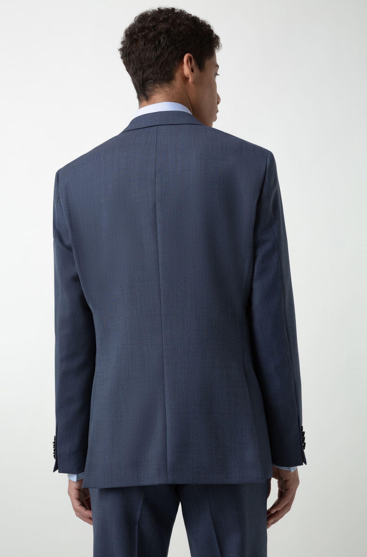 Regular-fit colbert van scheerwol met microdessin, Donkerblauw
