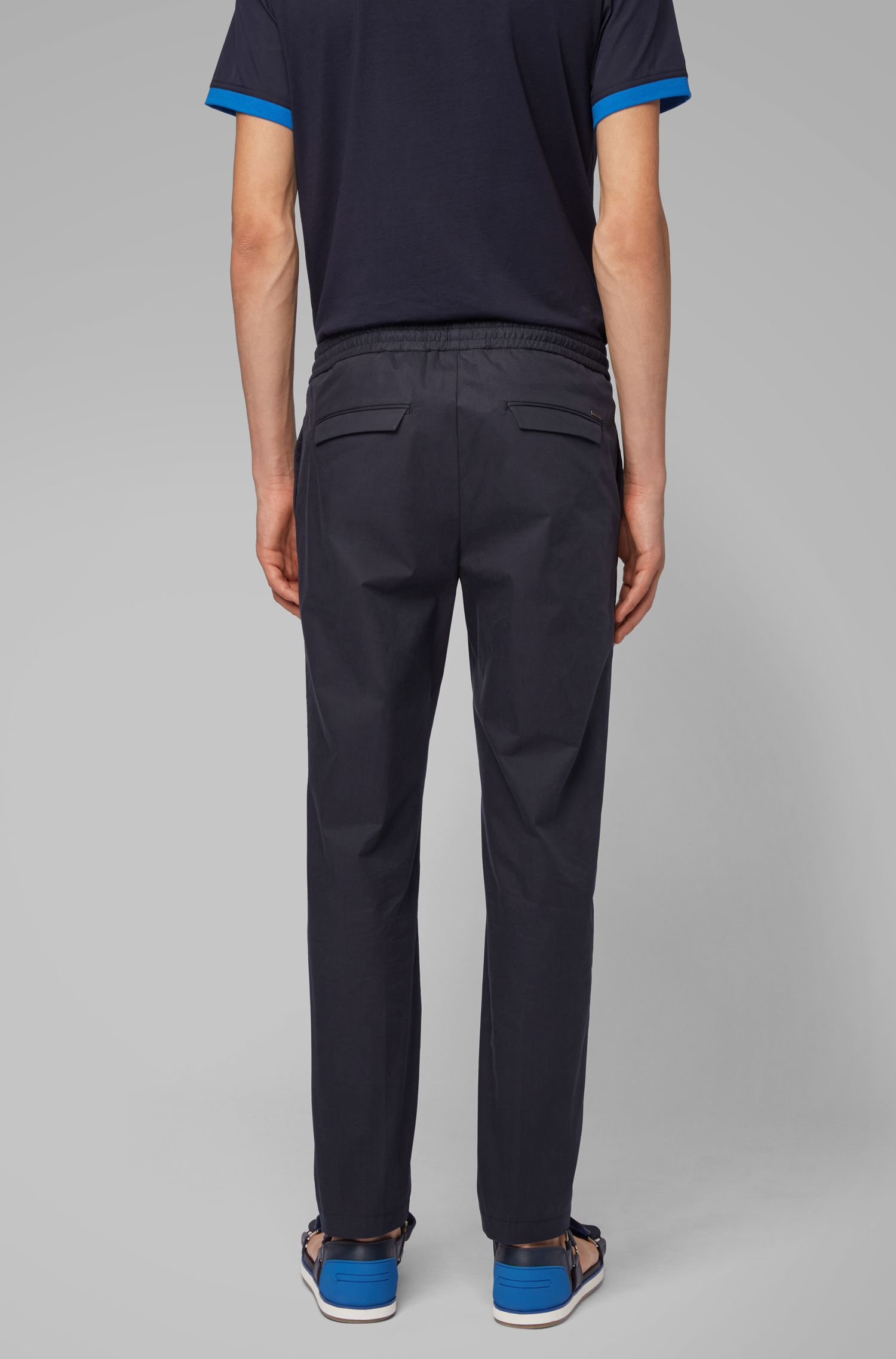 Paper-touch slim-fit trousers with drawstring waist, Dark Blue