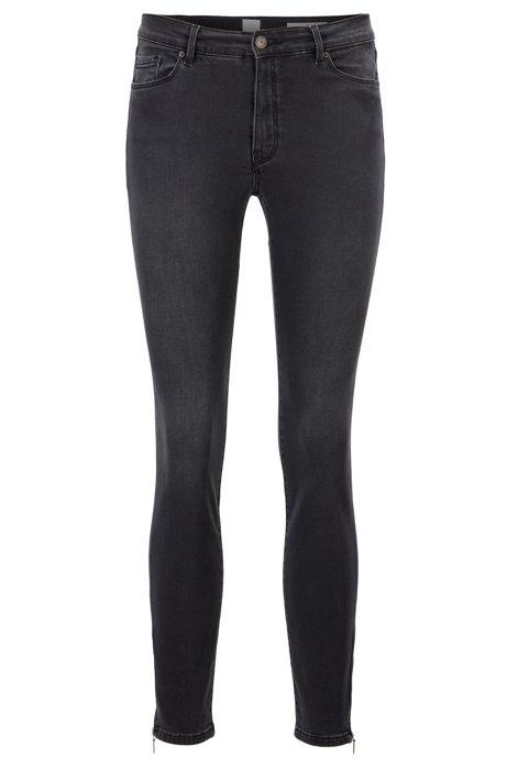 Skinny-Fit Jeans aus Stretch-Denim mit Reißverschlüssen am Saum, Anthrazit