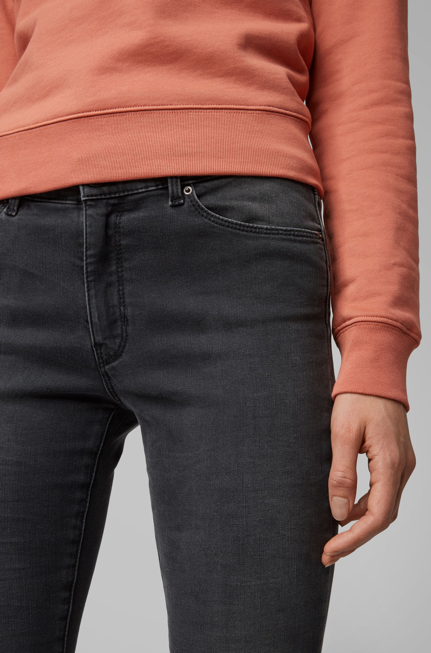 Skinny-fit jeans in stretch denim with zipped hems, Anthracite