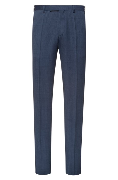 Regular-fit broek van tweekleurige scheerwol met microdessin, Donkerblauw