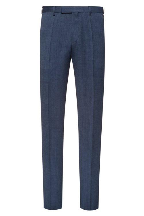 Hugo Boss - Pantalones regular fit en lana virgen de dos tonos con microestampado - 1