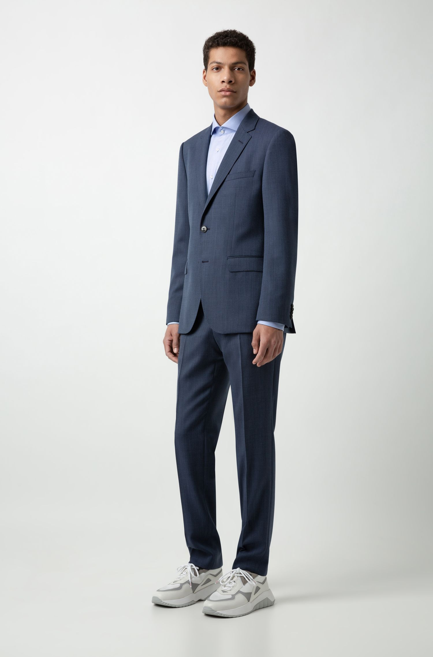 Pantalon Regular Fit en laine vierge bicolore à micro motif, Bleu foncé