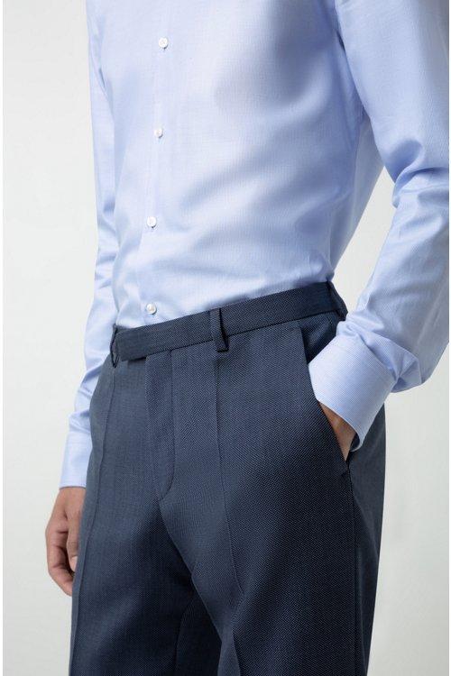 Hugo Boss - Pantalones regular fit en lana virgen de dos tonos con microestampado - 6