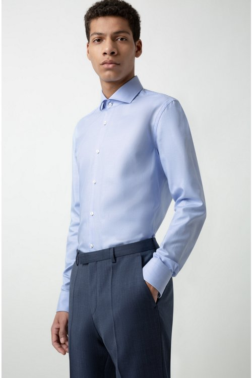 Hugo Boss - Pantalones regular fit en lana virgen de dos tonos con microestampado - 4
