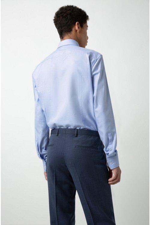 Hugo Boss - Pantalones regular fit en lana virgen de dos tonos con microestampado - 3