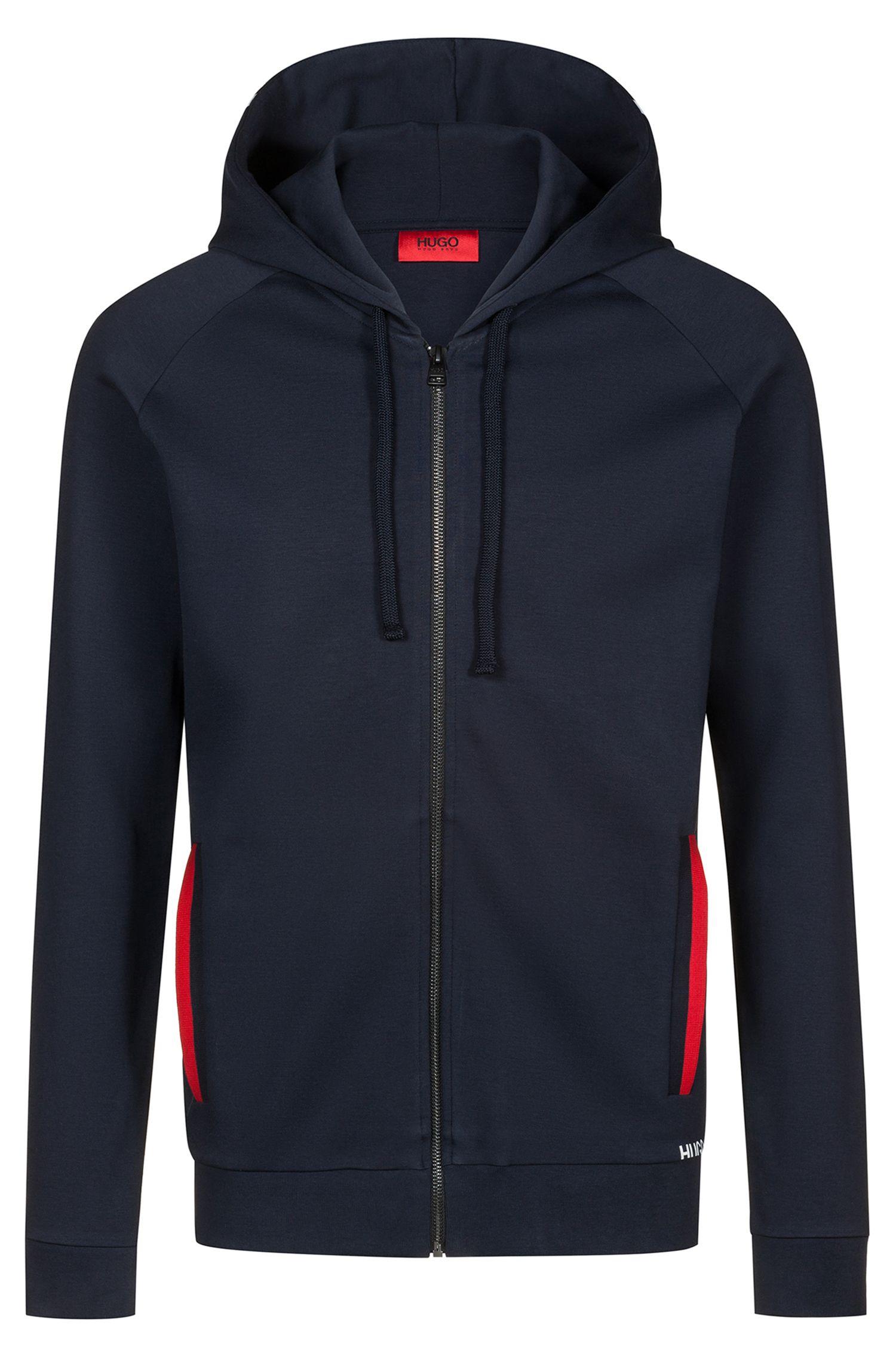Hugo Boss - Zip-through cotton hoodie with cropped logo - 1