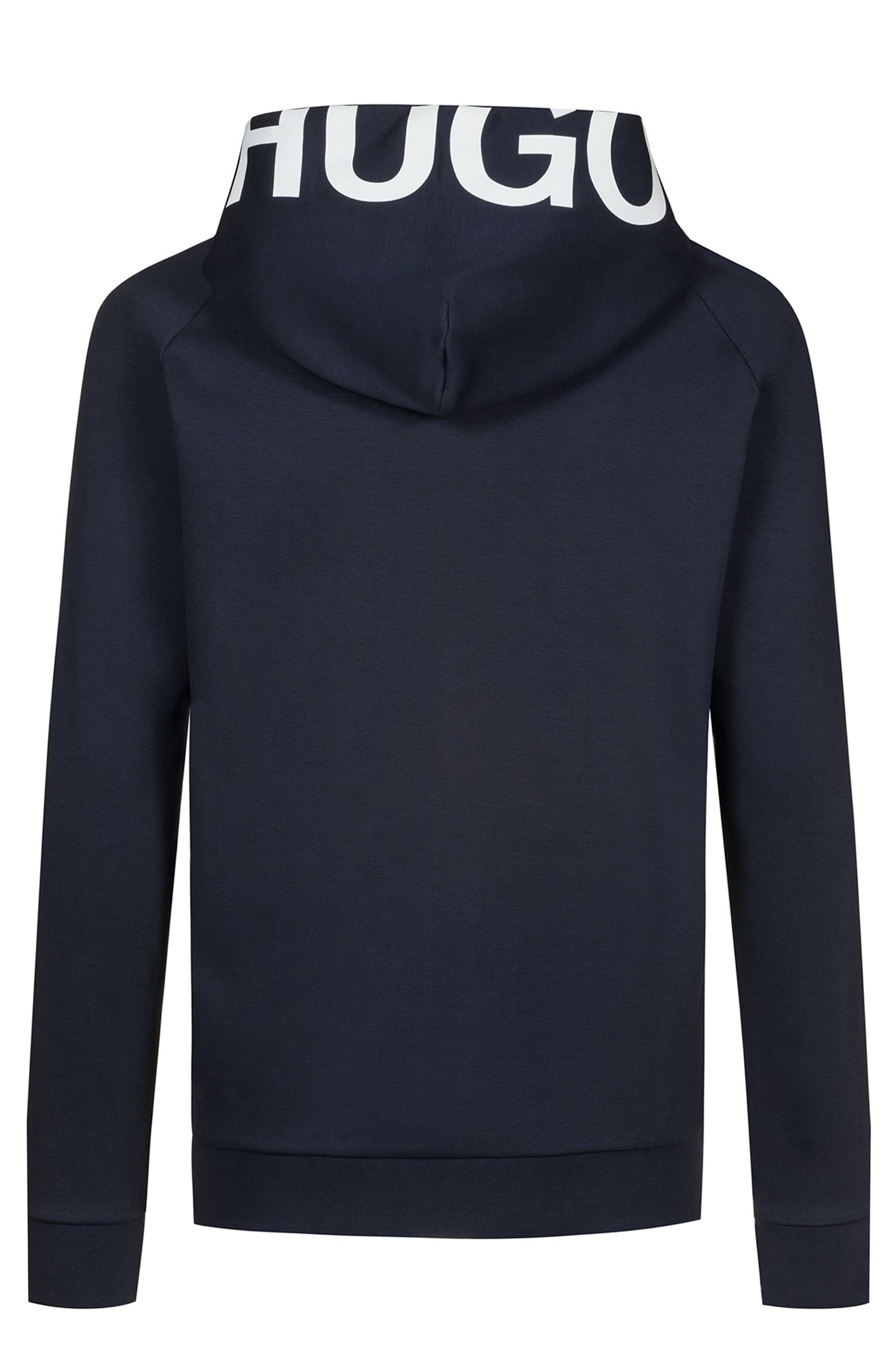 Zip-through cotton hoodie with cropped logo, Dark Blue