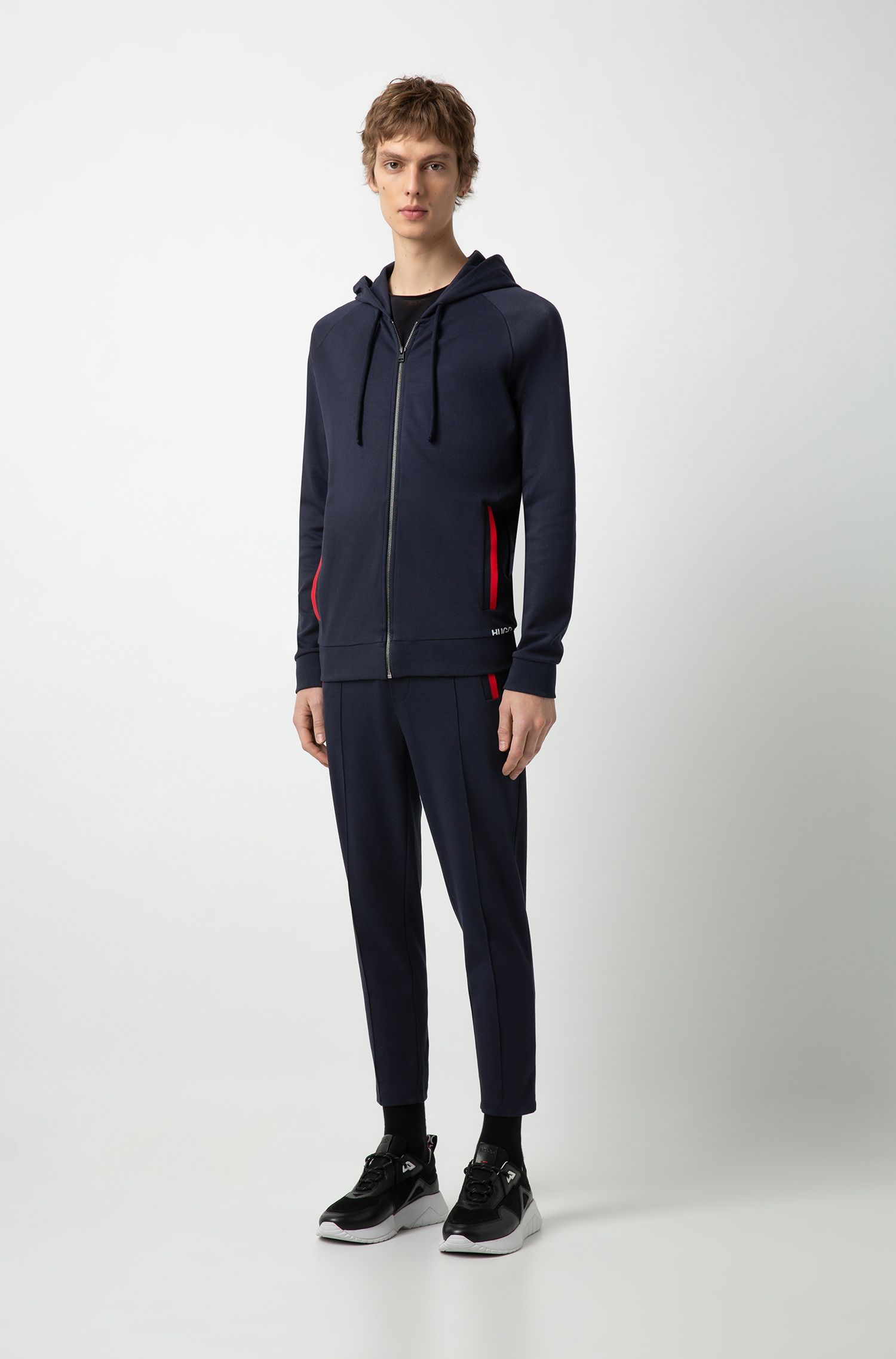 Hugo Boss - Zip-through cotton hoodie with cropped logo - 2