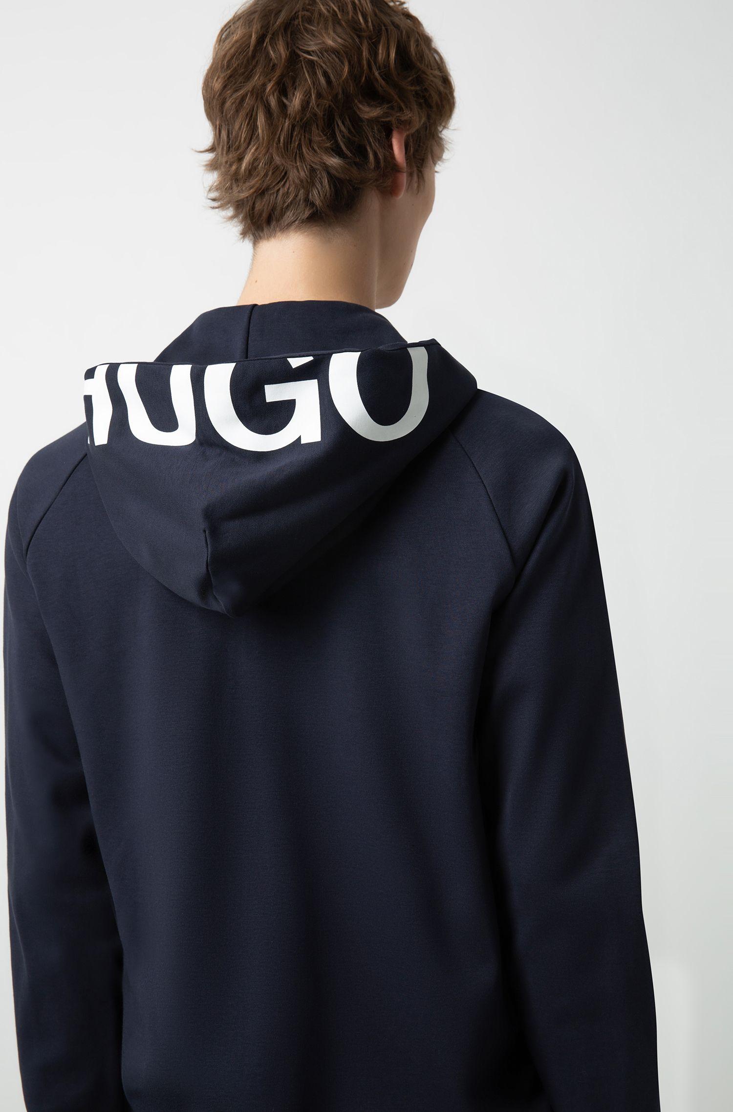 Hugo Boss - Zip-through cotton hoodie with cropped logo - 3