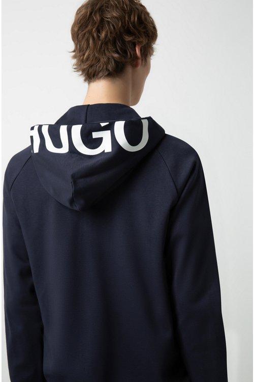 Hugo Boss - Kapuzenjacke aus Baumwolle mit Reißverschluss und abgeschnittenem Logo - 3