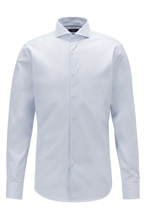 376d09464 BOSS - Slim-fit shirt in dobby cotton with spread collar