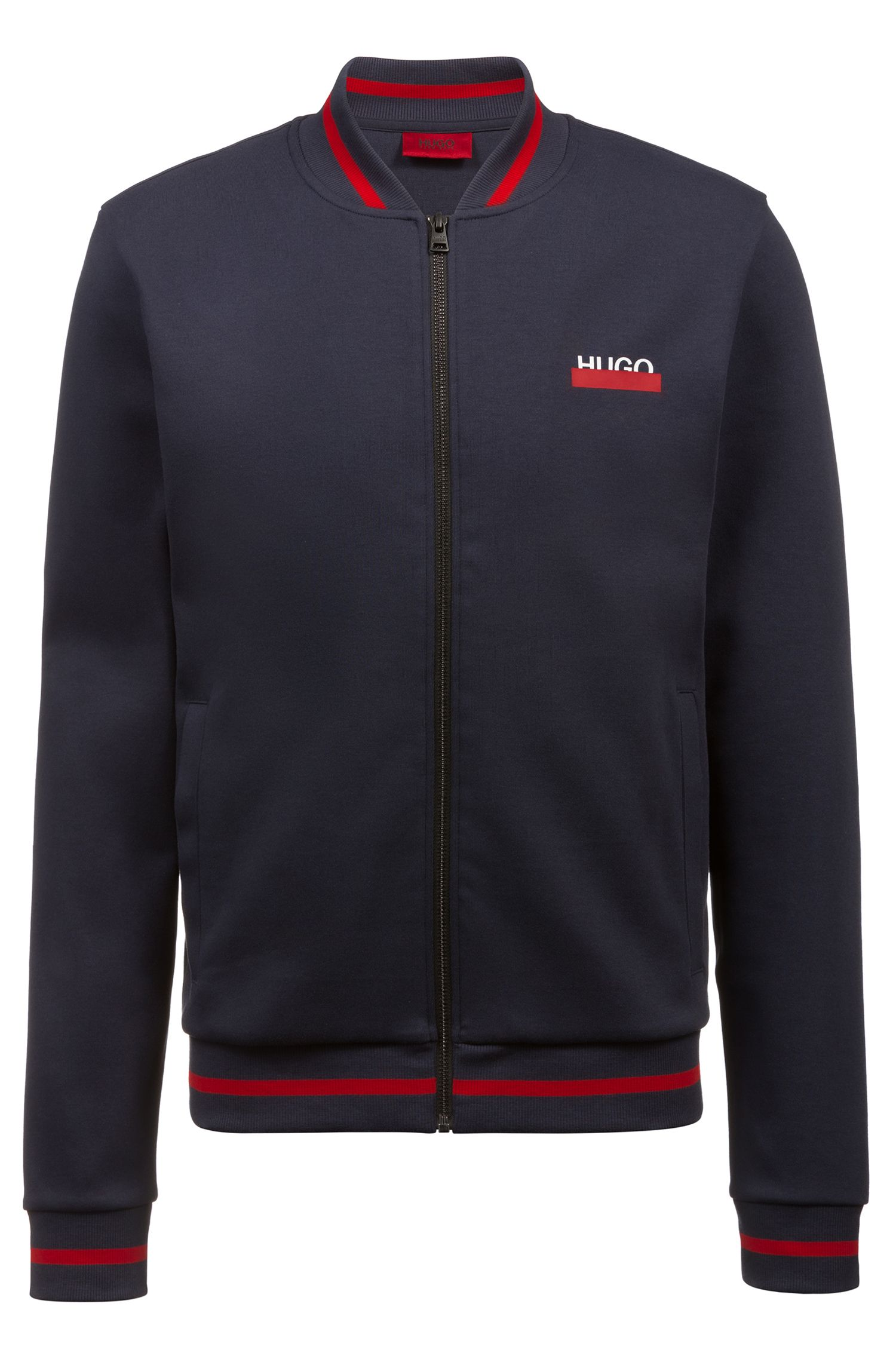 Hugo Boss - Sweatjacke aus Interlock-Baumwolle mit College-Kragen - 1