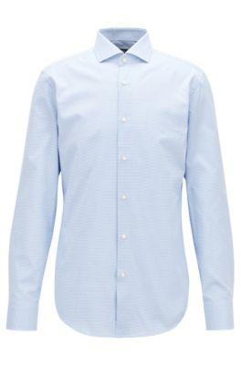 Slim-fit overhemd van tweekleurige Italiaanse katoen, Lichtblauw