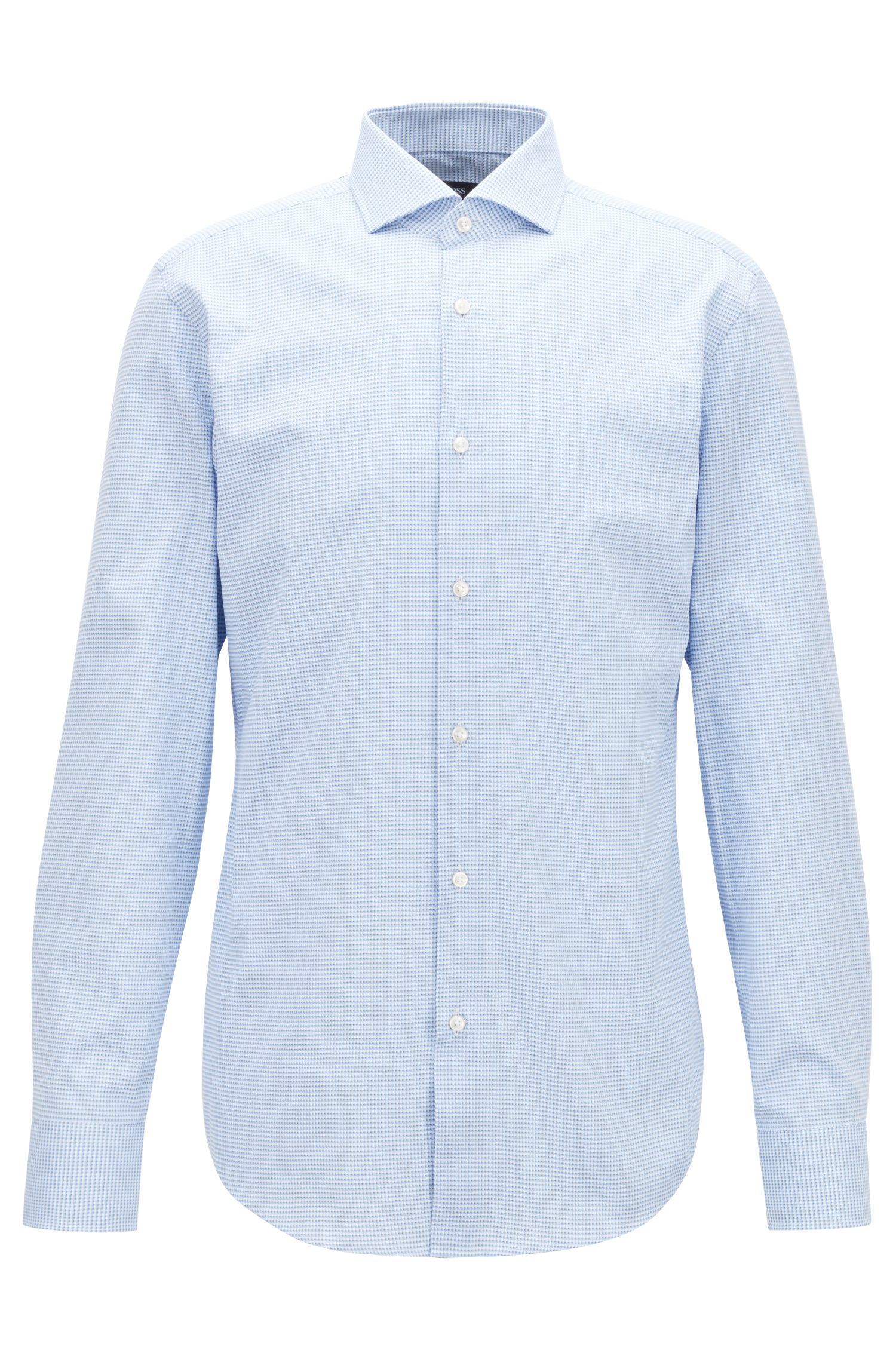 Slim-fit shirt in two-tone Italian cotton, Light Blue