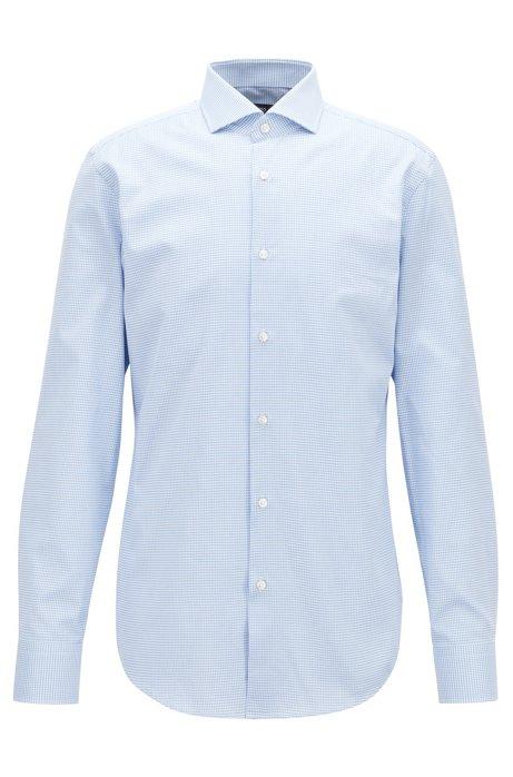 Camisa slim fit en algodón italiano de dos tonos, Celeste