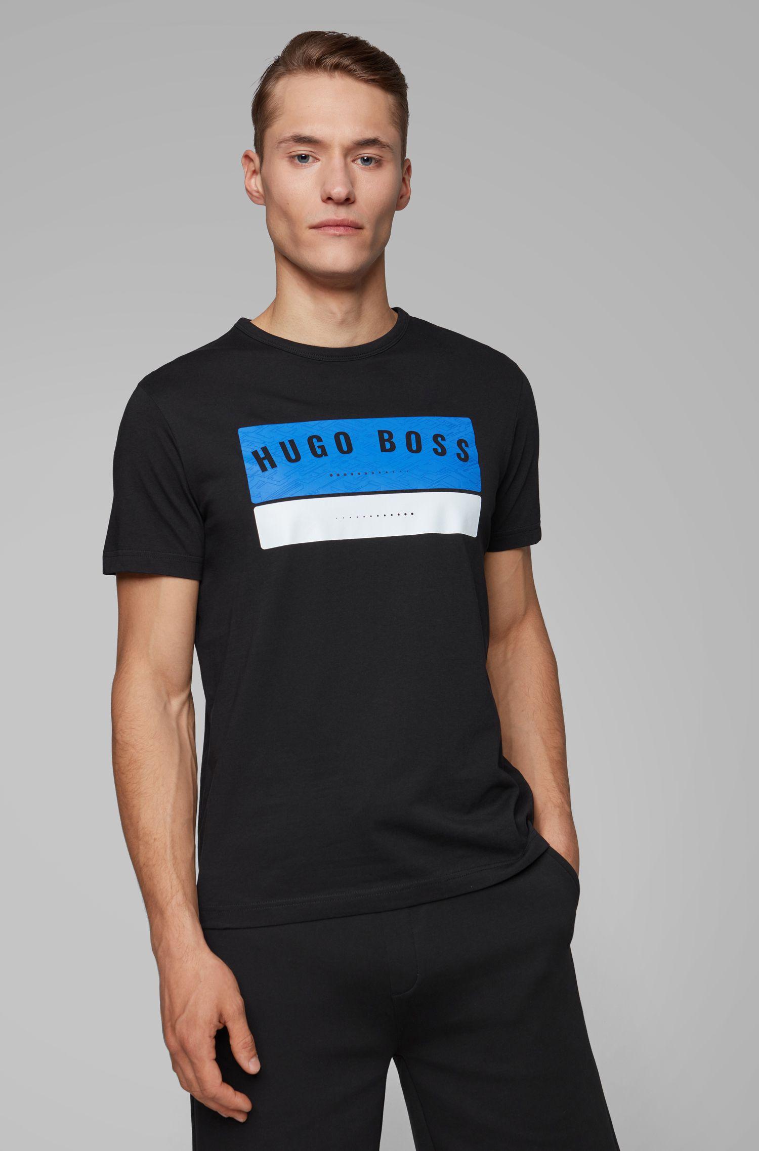 Camiseta de algodón con ilustración de logo de alta densidad, Negro