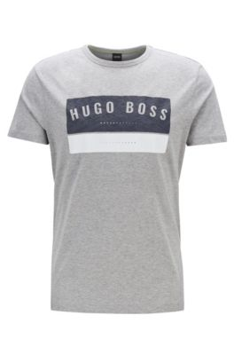T-Shirt aus Baumwolle mit markantem Logo-Artwork, Hellgrau