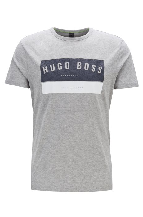 T-shirt van katoen met gedetailleerde logoprint, Lichtgrijs