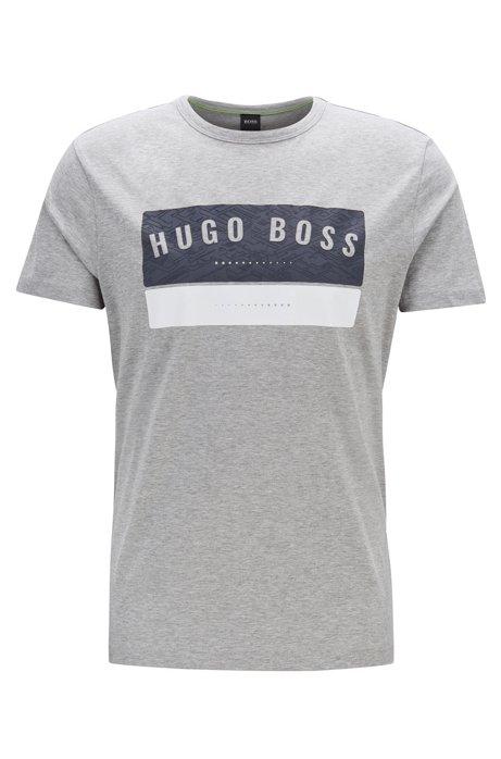 Cotton T-shirt with high-density logo artwork, Light Grey