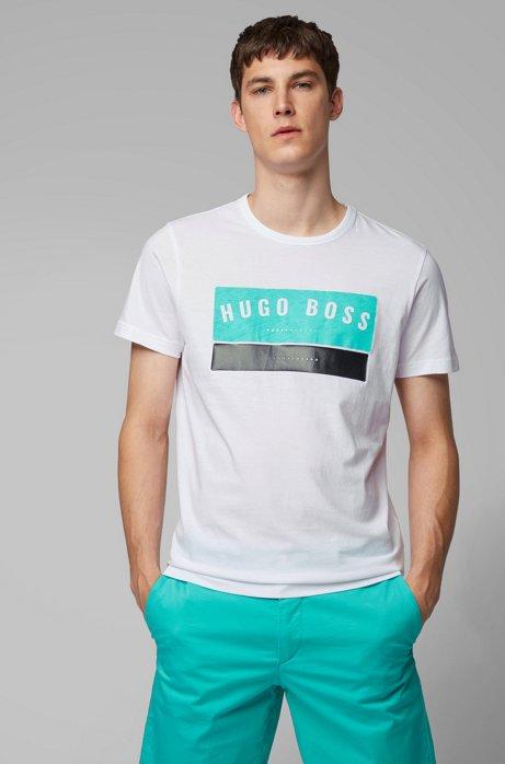 T-Shirt aus Baumwolle mit markantem Logo-Artwork, Weiß