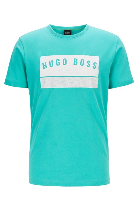 T-shirt en coton avec logo arty imprimé à haute densité, Chaux