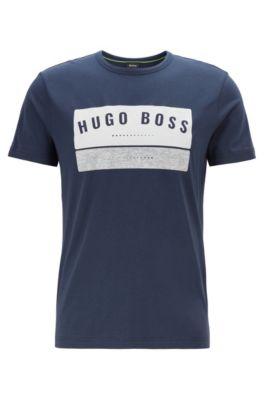 T-shirt en coton avec logo arty imprimé à haute densité, Bleu foncé